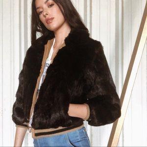 ✨Real Rabbit Fur Bomber Jacket For Sale✨